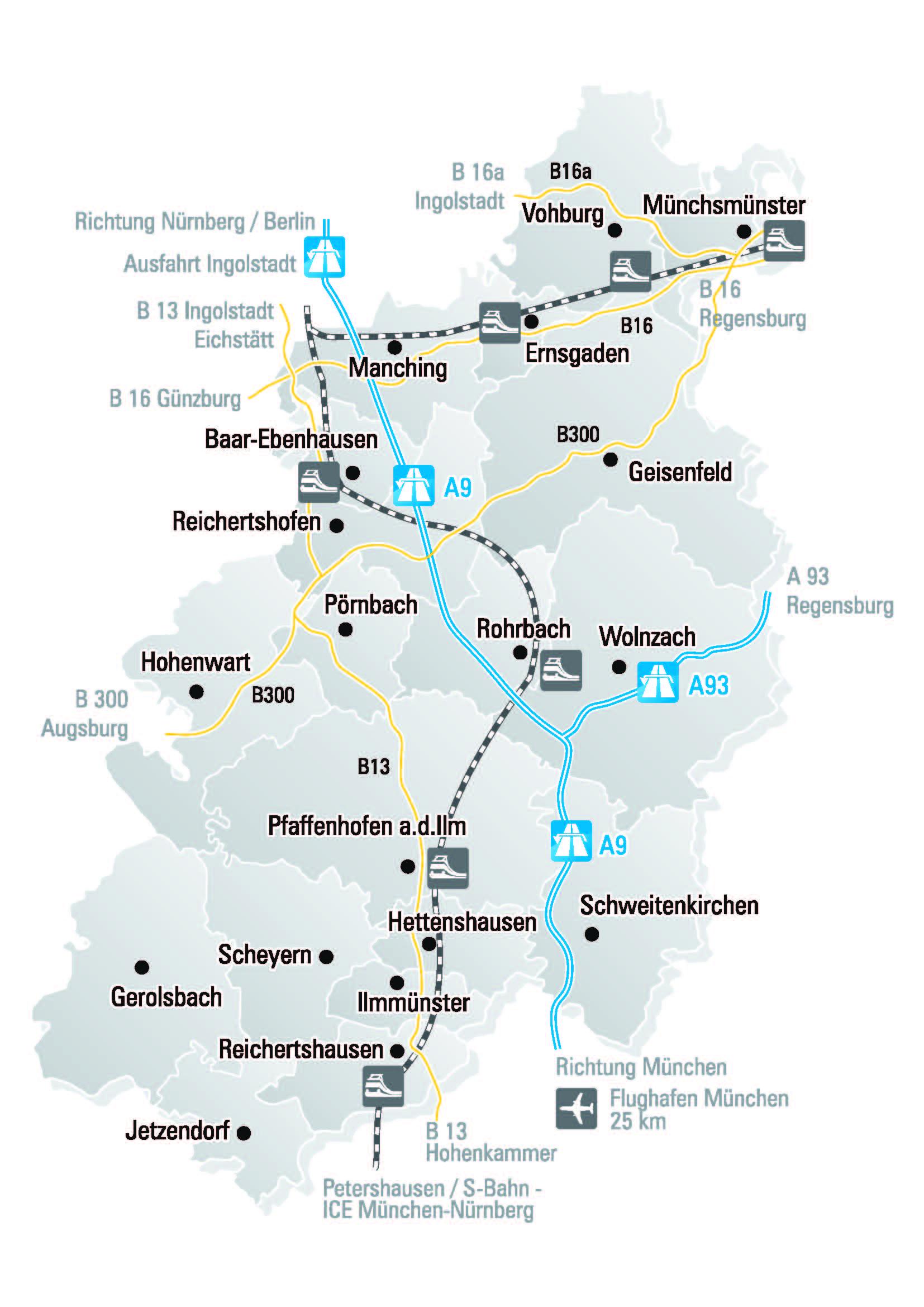 anreise karte landkreis pfaffenhofen