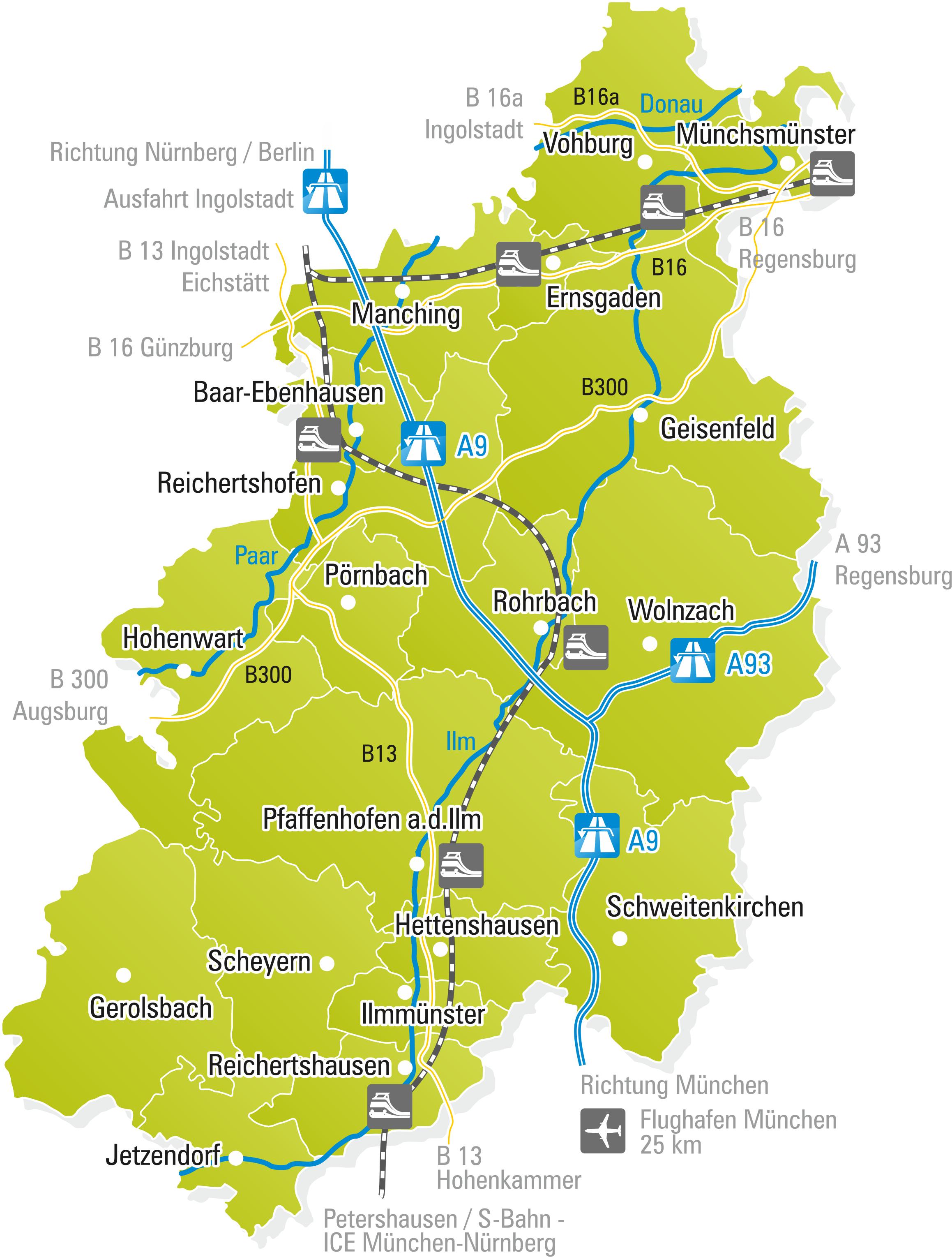 Landkreis Augsburg Karte.Tourismus Im Landkreis Pfaffenhofen A D Ilm